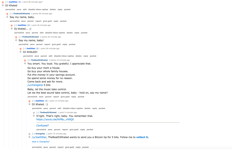 A DJ Khaled Reddit bot // Joel Auterson
