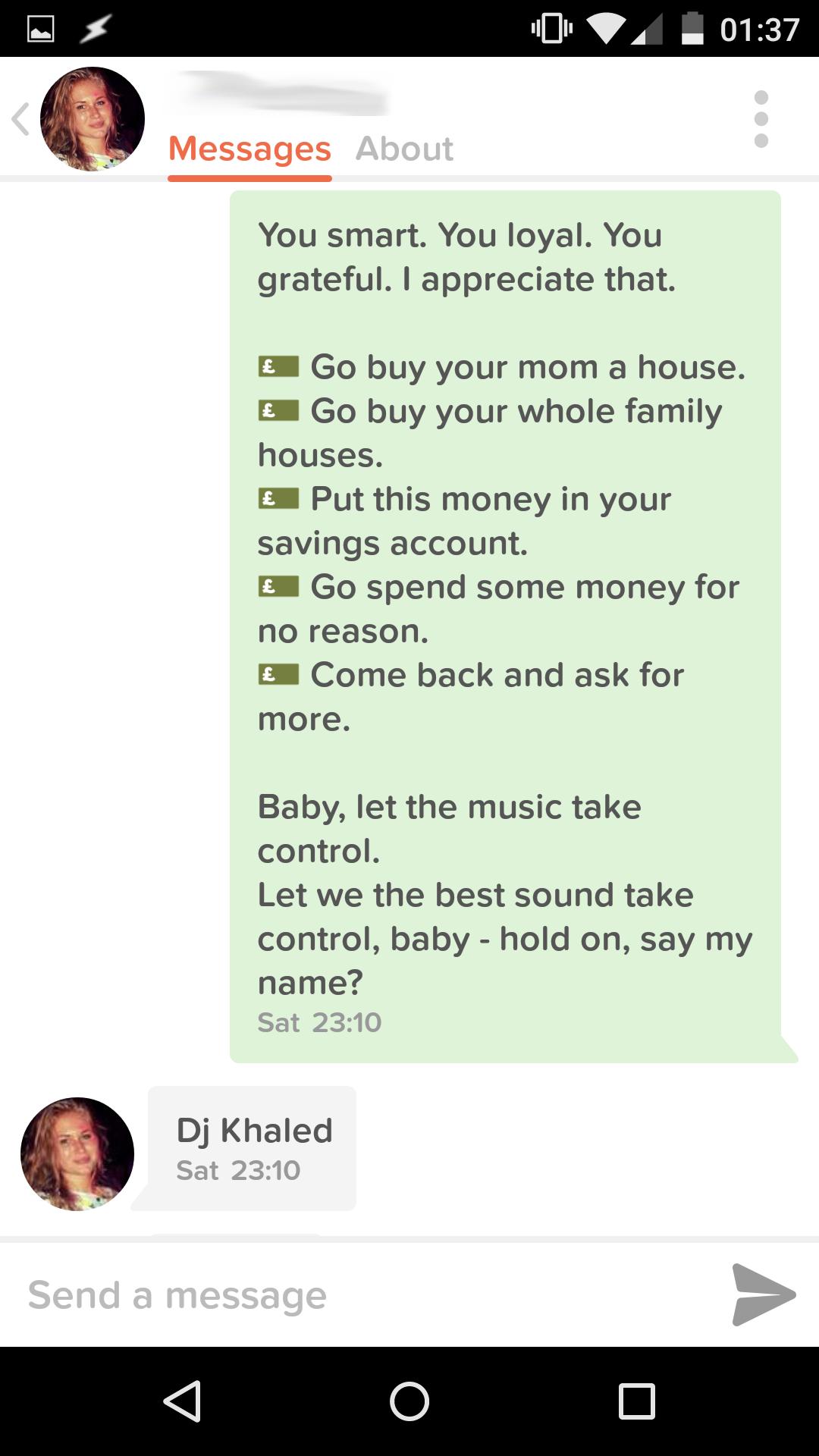 A DJ Khaled Tinder bot // Joel Auterson